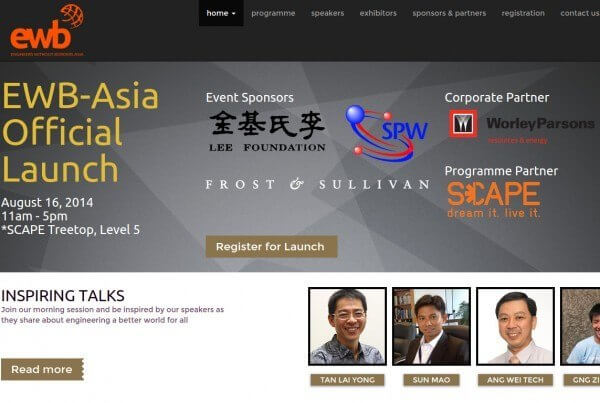 CLLOH website portfolio - EWB Asia non-profit organization website screenshot