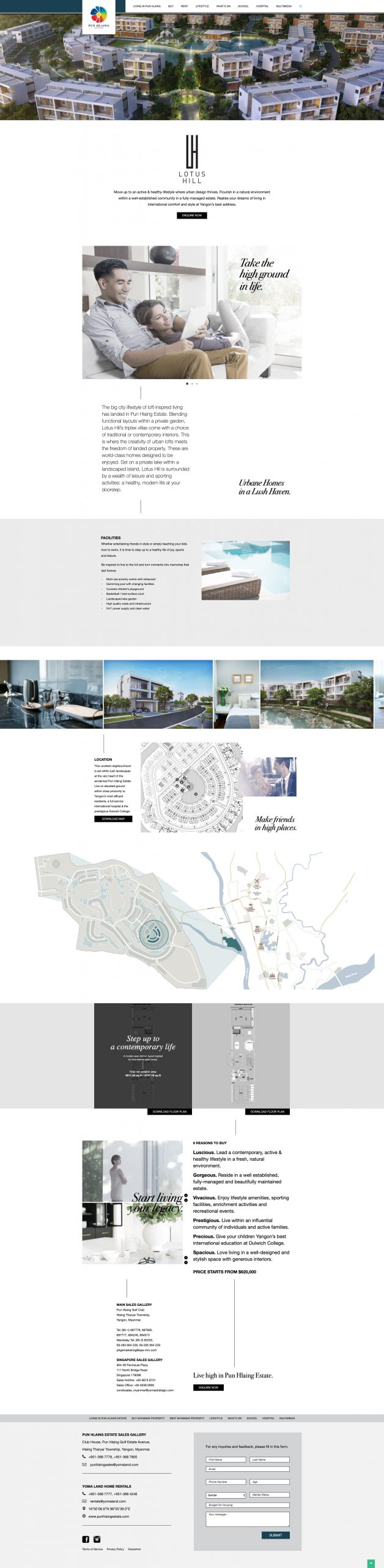 Pun Hlaing Lotus Hill property development landing page